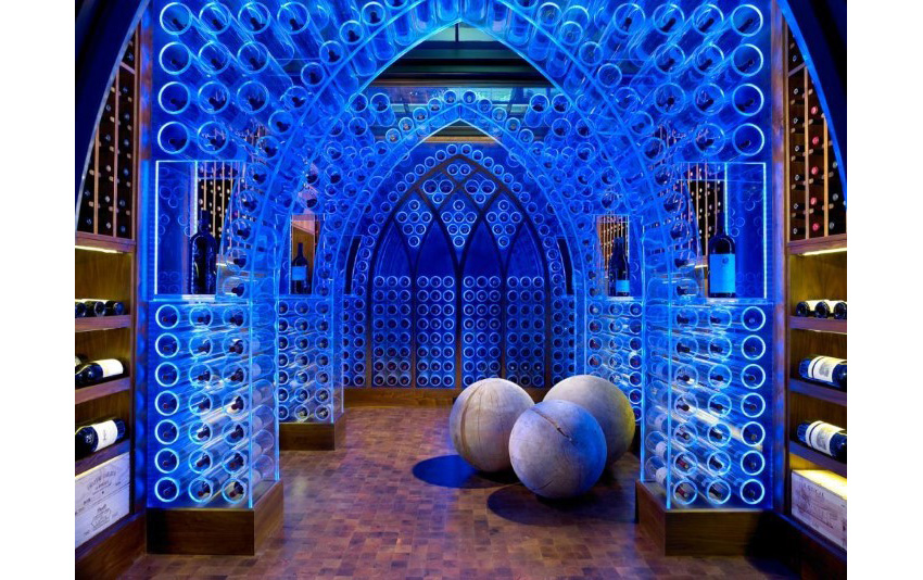 19. Transitional Wine Cellar with Blue LED Lightings Arches by Beckwith