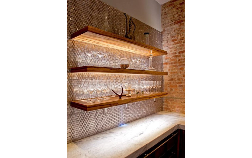 11.  Penny Tile Kitchen Backsplash LED lightings Highlight